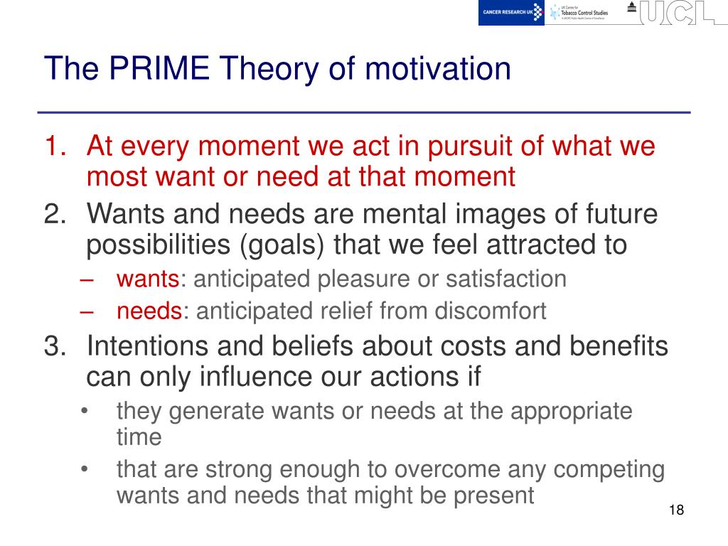 The PRIME Theory of motivation