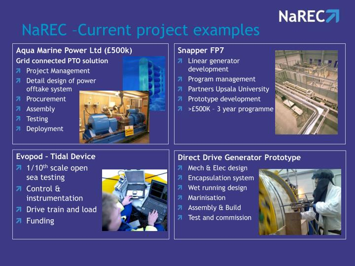 NaREC –Current project examples