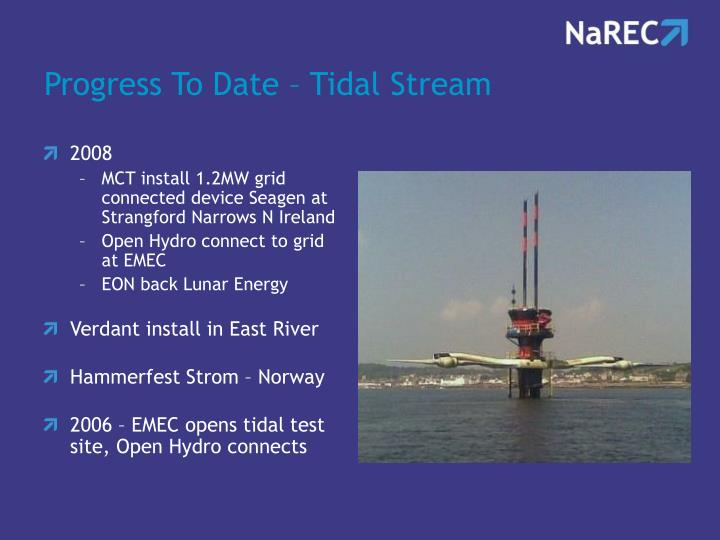 Progress To Date – Tidal Stream