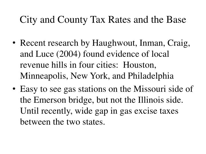 City and County Tax Rates and the Base