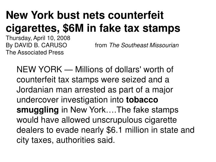 New York bust nets counterfeit cigarettes, $6M in fake tax stamps