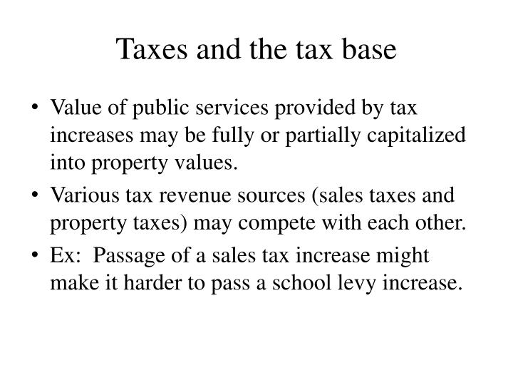 Taxes and the tax base