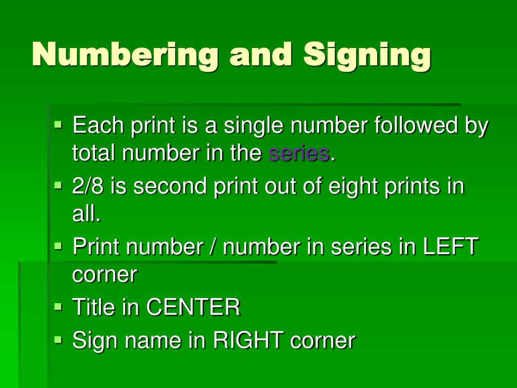 Numbering and Signing
