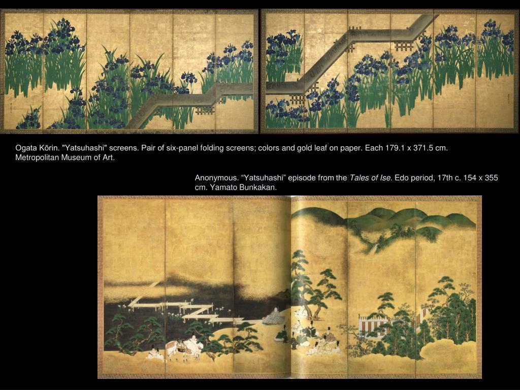 "Ogata Kōrin. ""Yatsuhashi"" screens. Pair of six-panel folding screens; colors and gold leaf on paper. Each 179.1 x 371.5 cm. Metropolitan Museum of Art."
