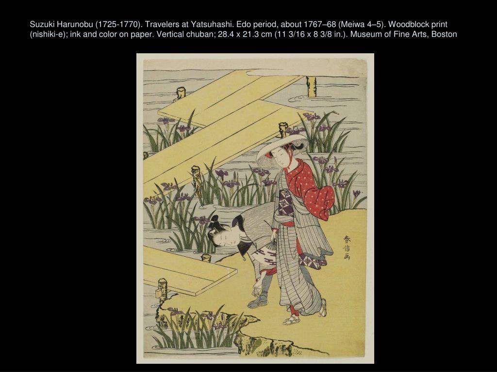 Suzuki Harunobu (1725-1770). Travelers at Yatsuhashi. Edo period, about 1767–68 (Meiwa 4–5). Woodblock print (nishiki-e); ink and color on paper. Vertical chuban; 28.4 x 21.3 cm (11 3/16 x 8 3/8 in.). Museum of Fine Arts, Boston