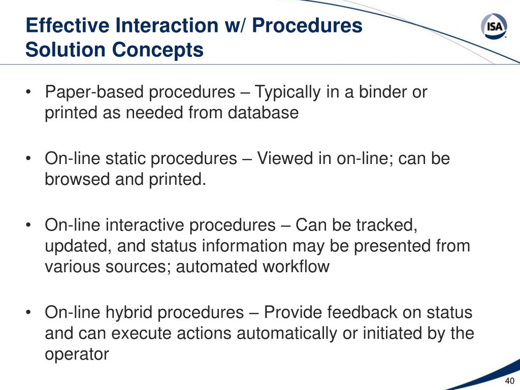 Effective Interaction w/ Procedures