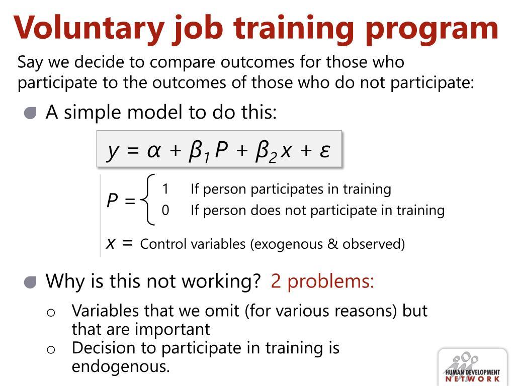 Voluntary job training program