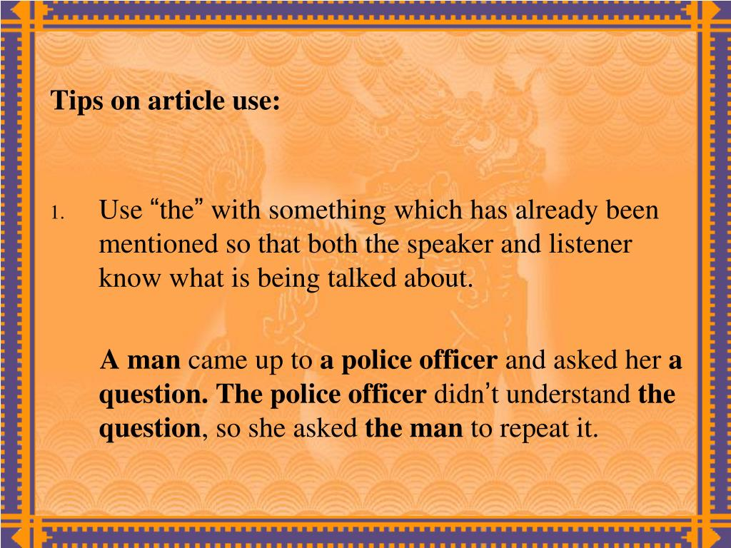 Tips on article use: