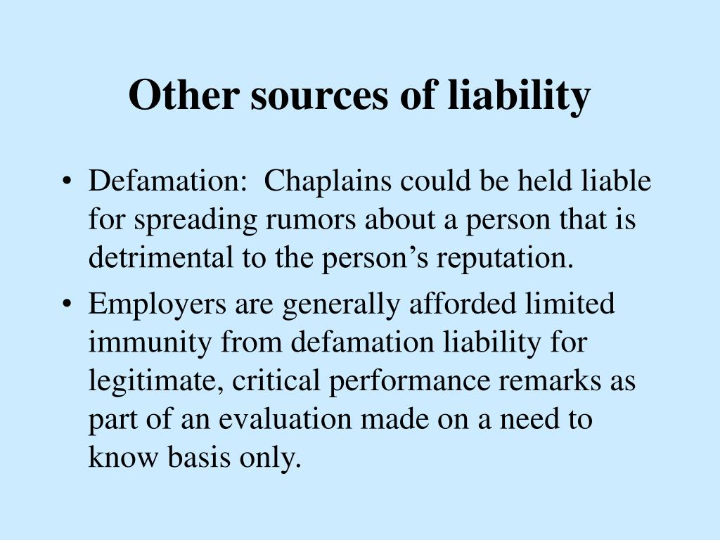 Other sources of liability