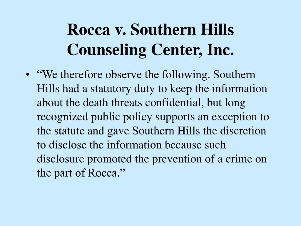 Rocca v. Southern Hills Counseling Center, Inc.