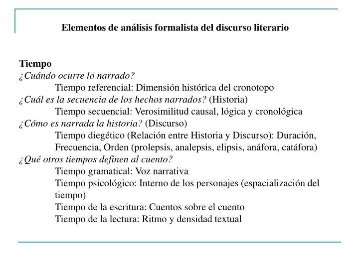 Elementos de análisis formalista del discurso literario