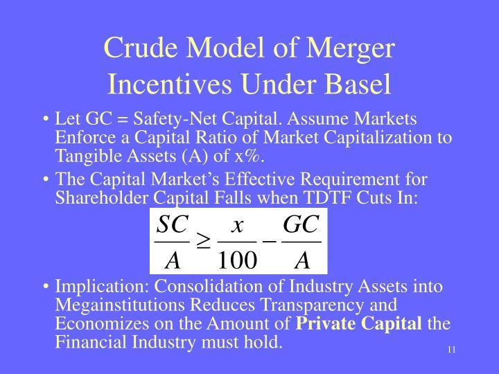 Crude Model of Merger Incentives Under Basel