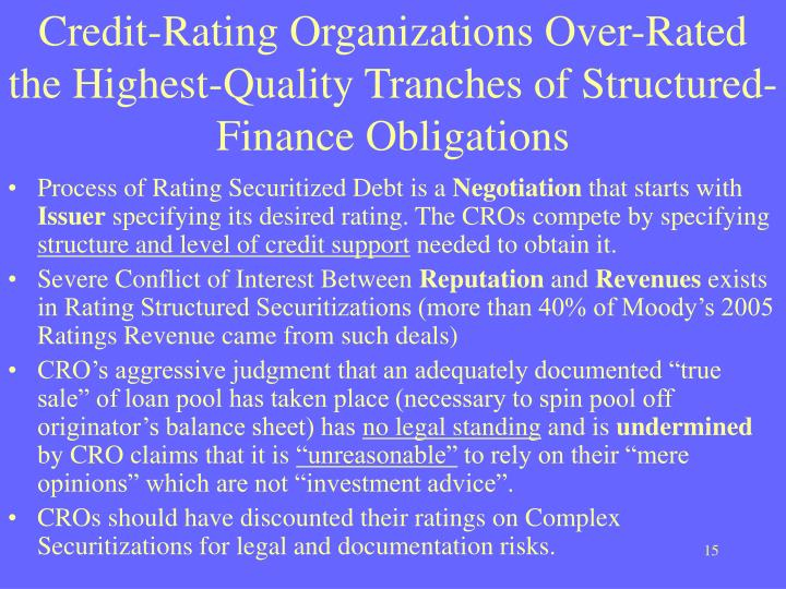 Credit-Rating Organizations Over-Rated the Highest-Quality Tranches of Structured-Finance Obligations
