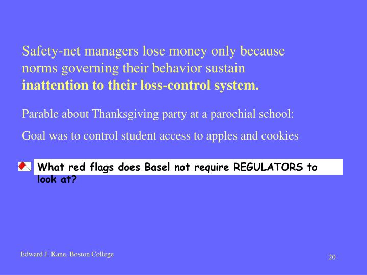 Safety-net managers lose money only because  norms governing their behavior sustain
