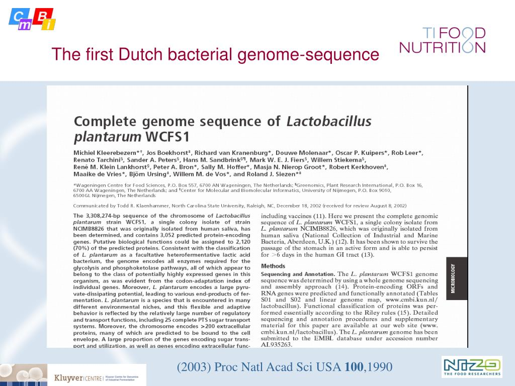 The first Dutch bacterial genome-sequence