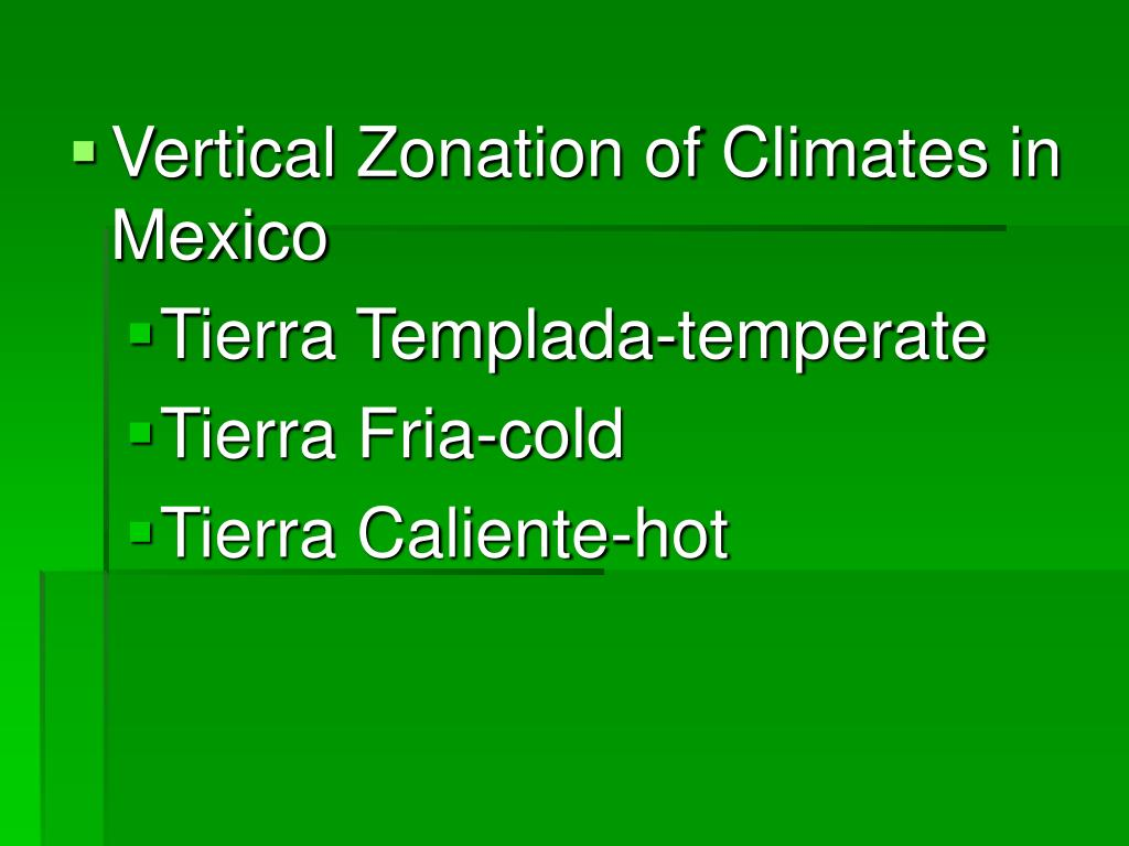 Vertical Zonation of Climates in Mexico