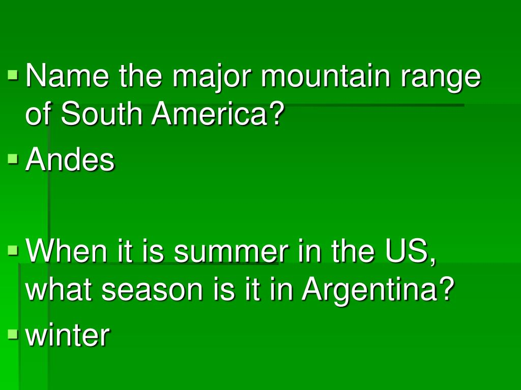 Name the major mountain range of South America?