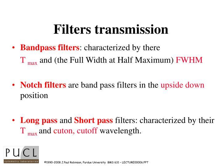 Filters transmission