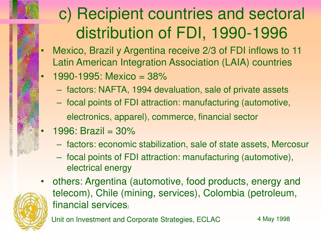 c) Recipient countries and sectoral distribution of FDI, 1990-1996