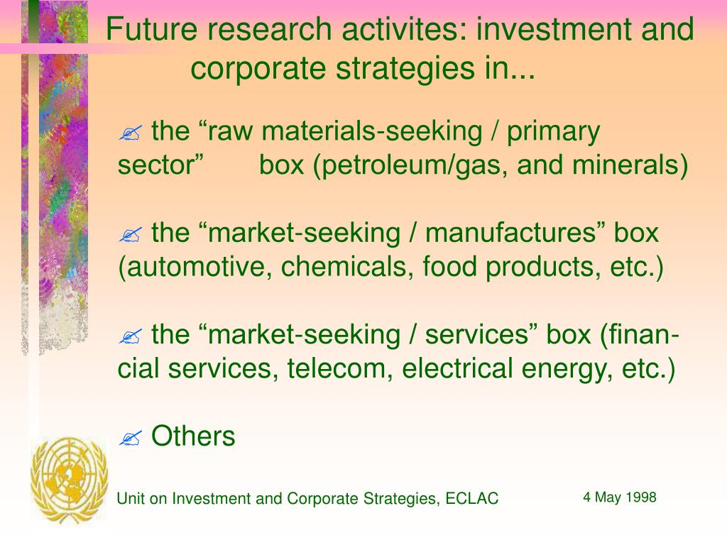 Future research activites: investment and corporate strategies in...