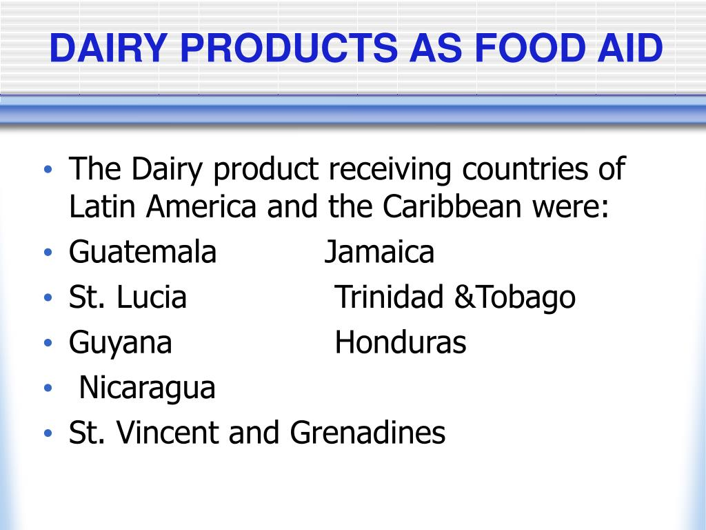 DAIRY PRODUCTS AS FOOD AID