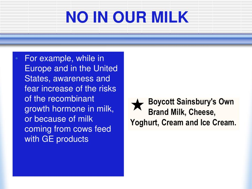 NO IN OUR MILK