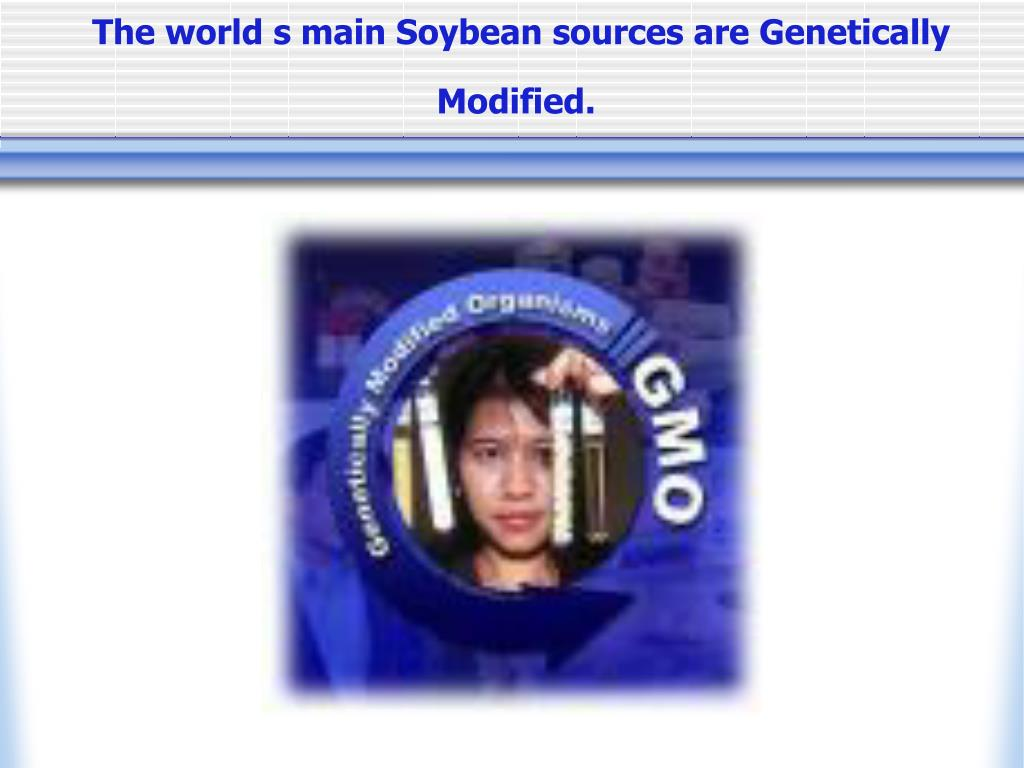 The world s main Soybean sources are Genetically Modified.