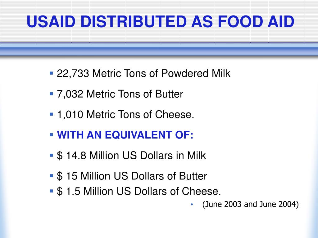 USAID DISTRIBUTED AS FOOD AID