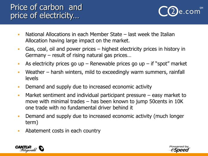 Price of carbon  and