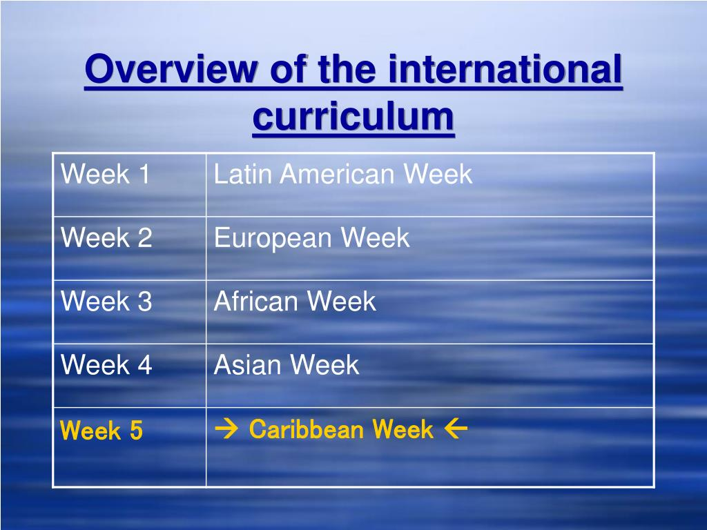 Overview of the international curriculum
