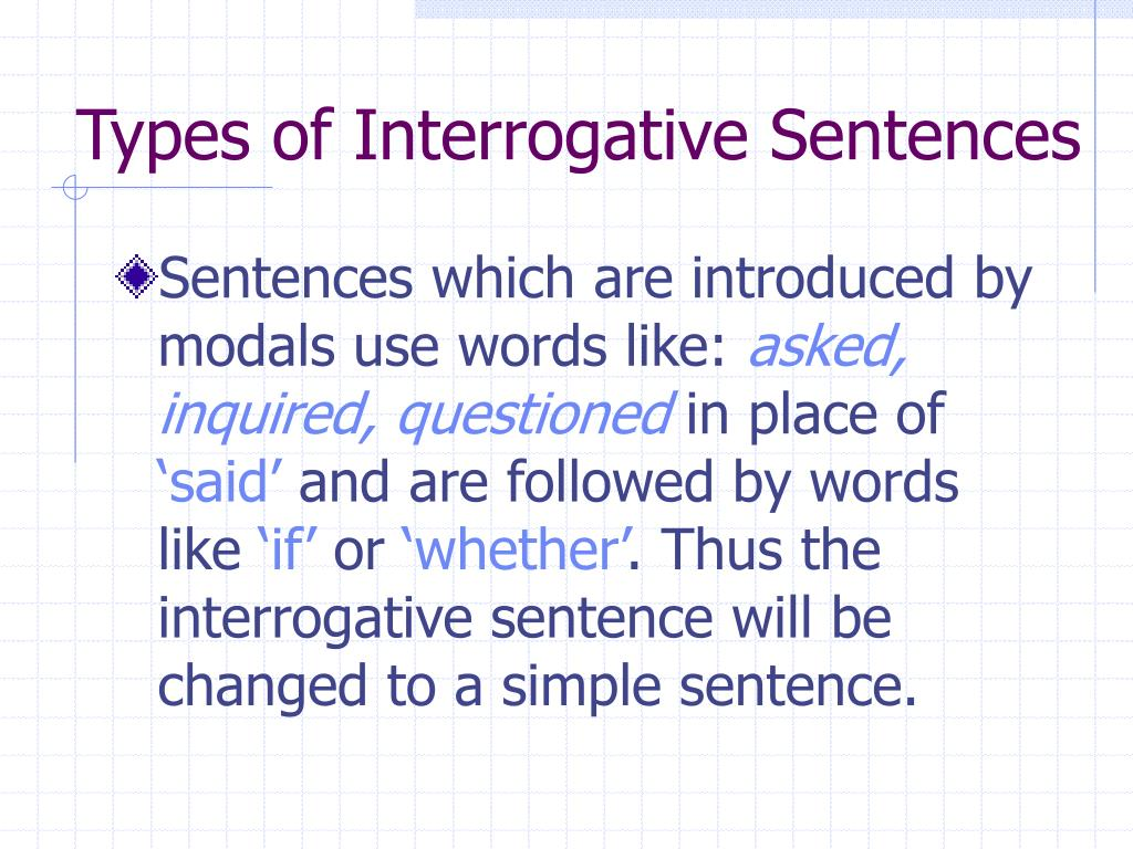 Types of Interrogative Sentences