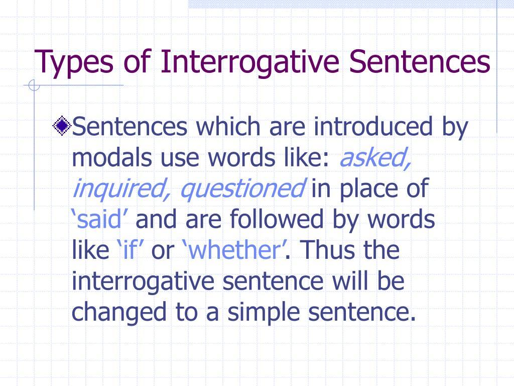 Types of Interrogative Sentences