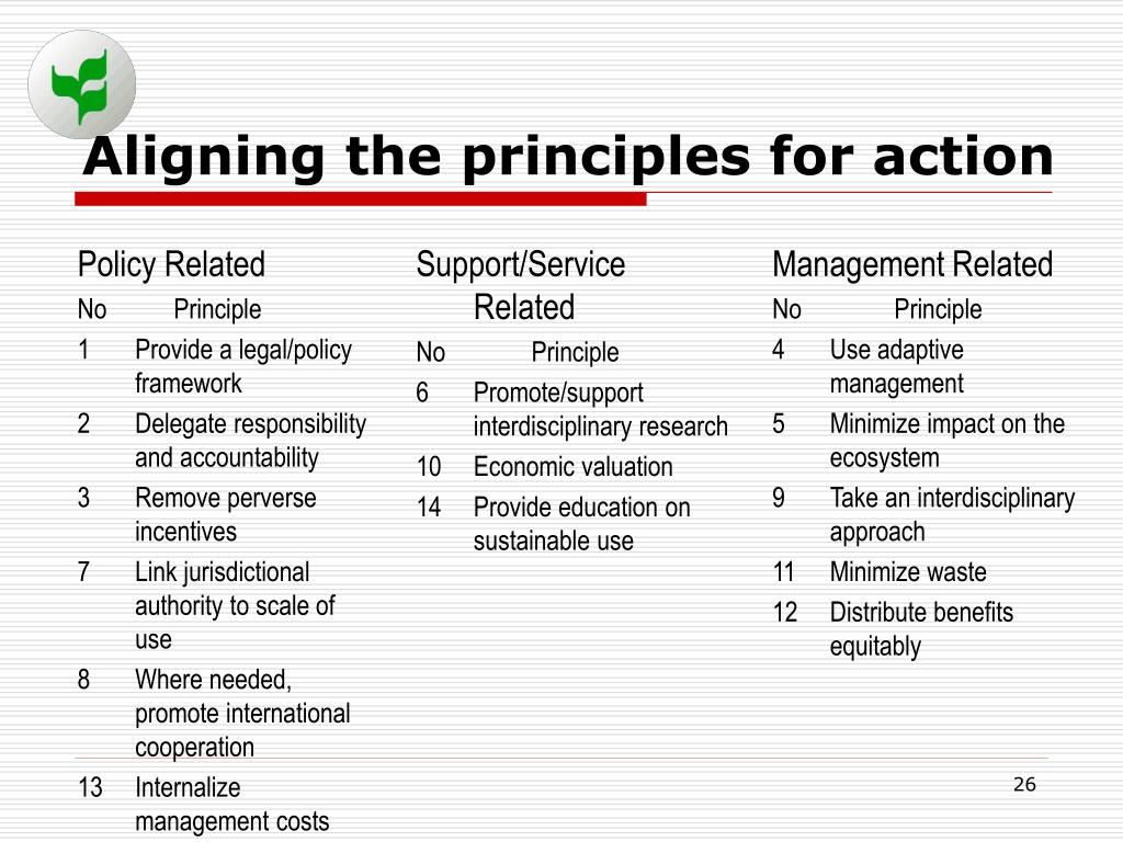 Aligning the principles for action