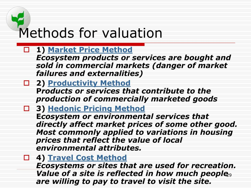 Methods for valuation