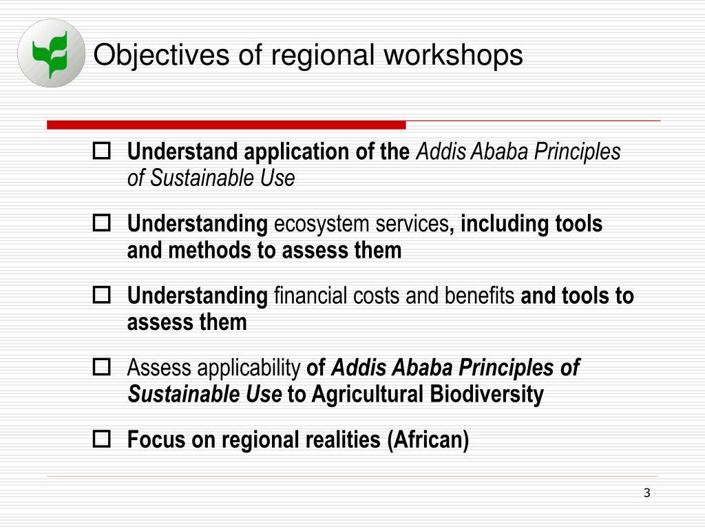 Objectives of regional workshops