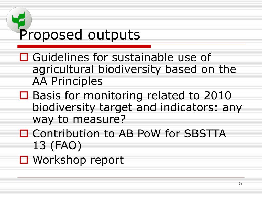 Proposed outputs