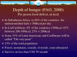 depth of hunger fao 2000 per peson food deficit in kcal