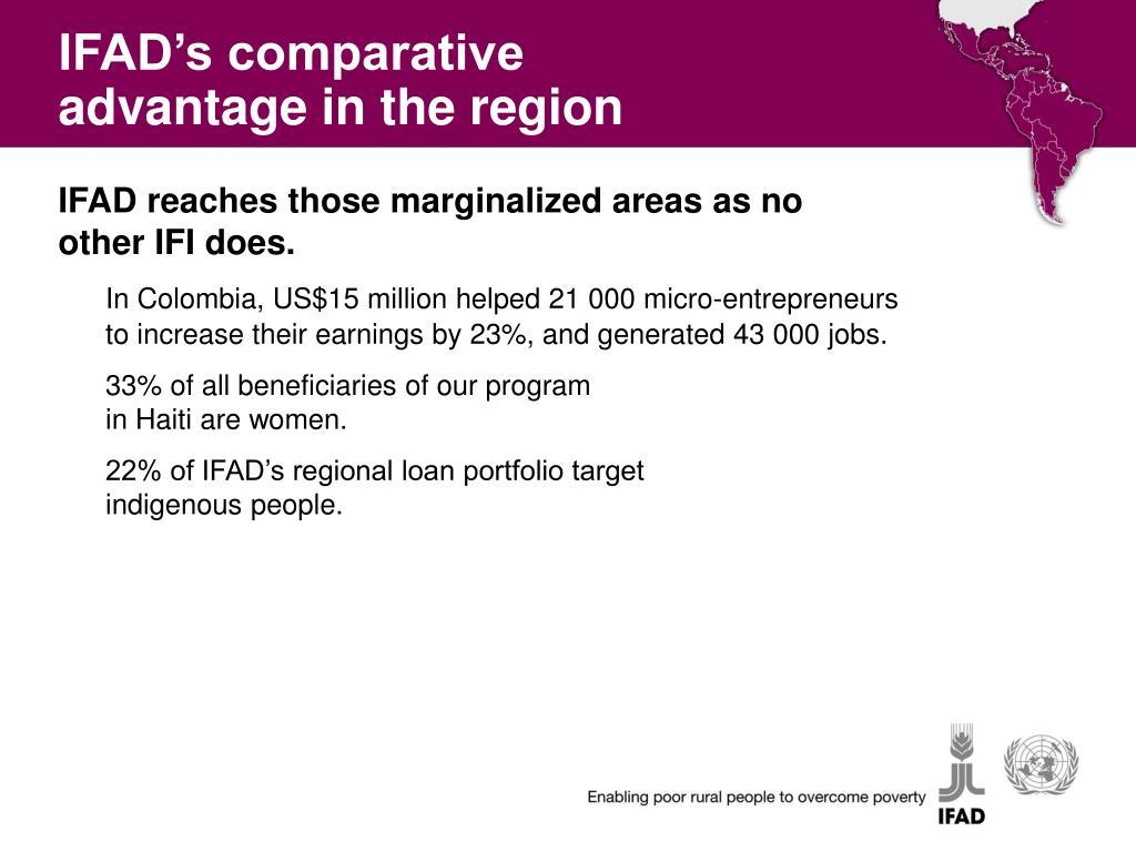 IFAD's comparative advantage in the region