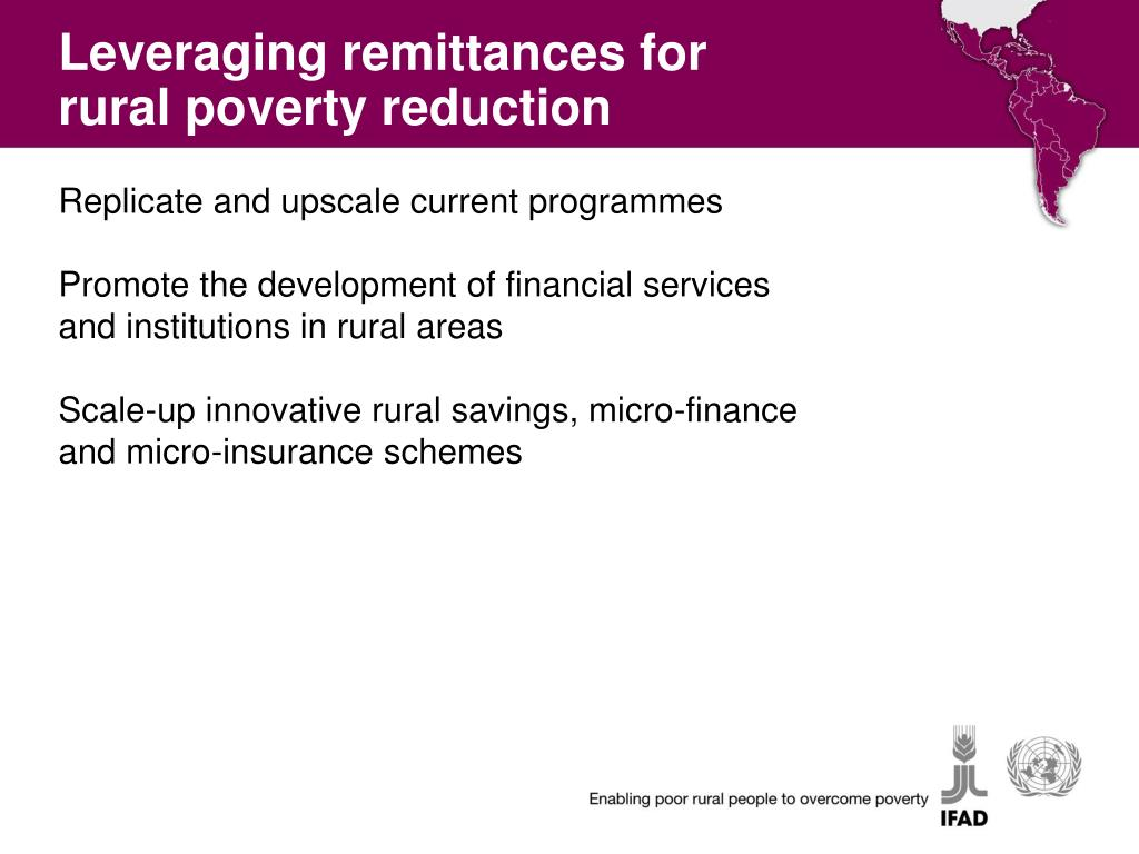 Leveraging remittances for rural poverty reduction