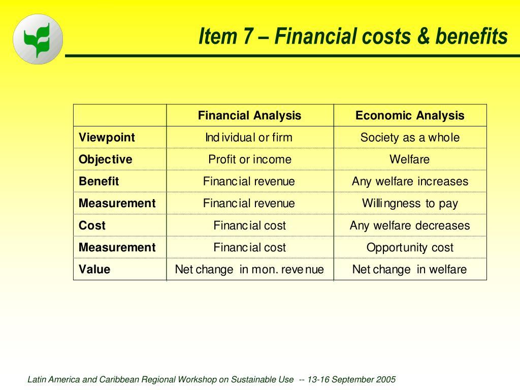 Item 7 – Financial costs & benefits