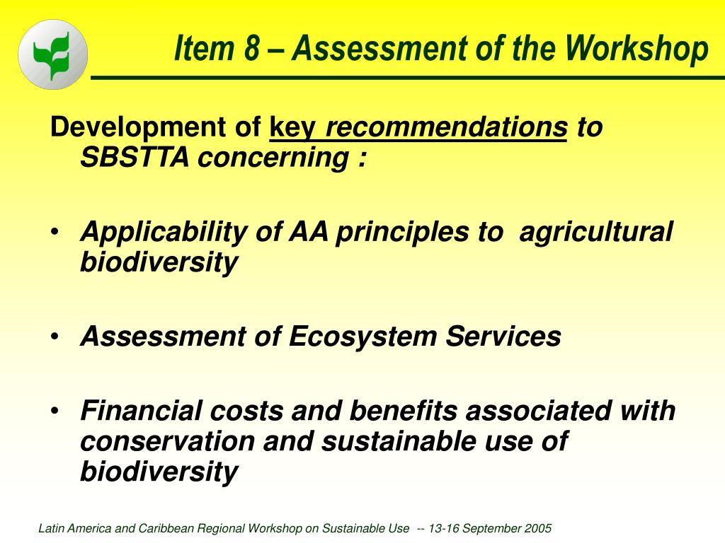 Item 8 – Assessment of the Workshop