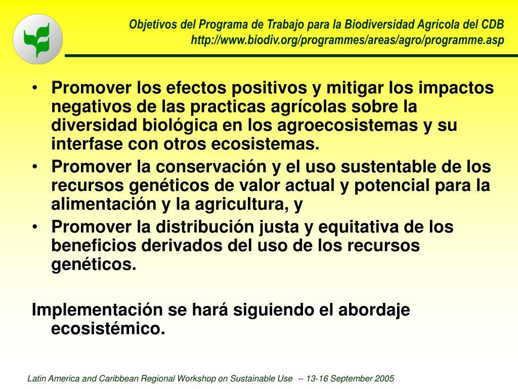 Objetivos del Programa de Trabajo para la Biodiversidad Agrícola del CDB