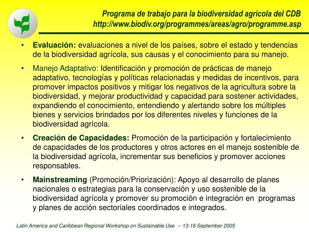 Programa de trabajo para la biodiversidad agrícola del CDB