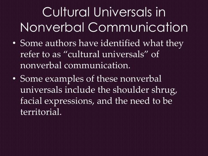 Cultural Universals in Nonverbal Communication