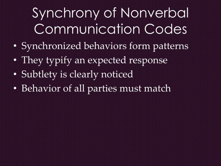 Synchrony of Nonverbal Communication Codes