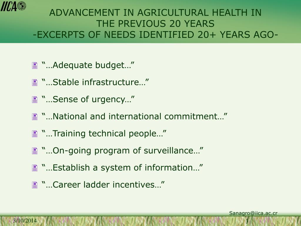 ADVANCEMENT IN AGRICULTURAL HEALTH IN