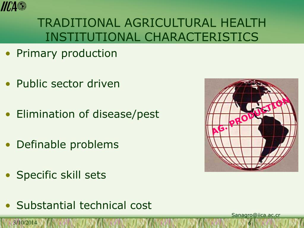 TRADITIONAL AGRICULTURAL HEALTH INSTITUTIONAL CHARACTERISTICS