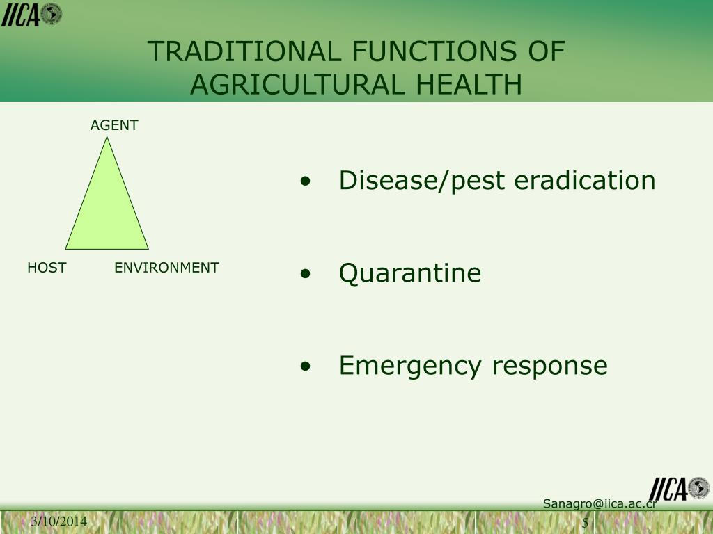 TRADITIONAL FUNCTIONS OF AGRICULTURAL HEALTH