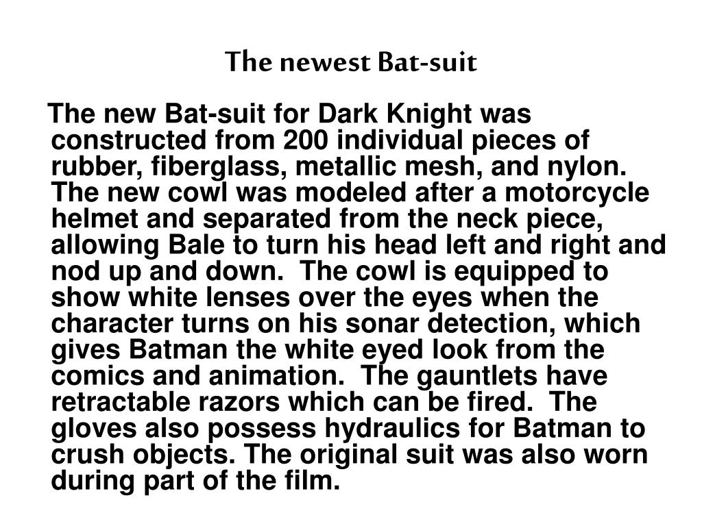 The newest Bat-suit