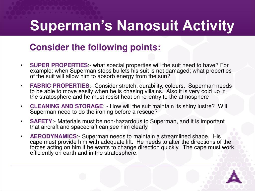 Superman's Nanosuit Activity